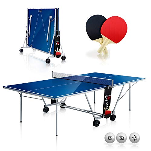 YM, Tischtennis-Tisch für den Innenbereich, zusammenklappbar für den Transport, mit Schlägern und Bällen,...