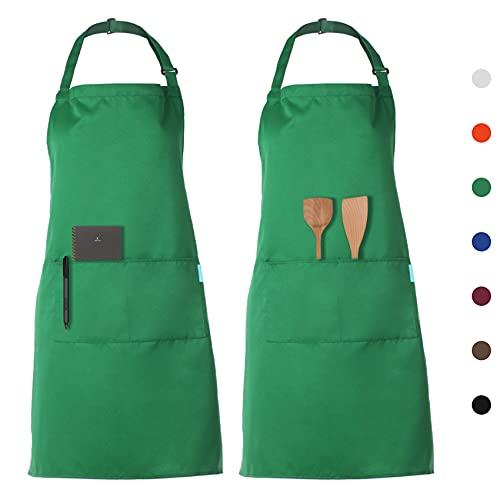 esonmus Schürze Kochschürze Küchenschürze 2 Set mit 2 Taschen Latzschürze kochschürze für Frauen...
