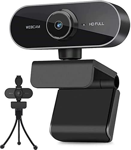 Webcam mit Mikrofon und Stativ, 1080P Webcam für PC Laptop Desktop, USB Computer Kamera für Videoanruf und...
