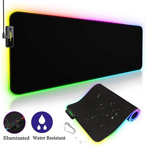 Tronsmart Spire Gaming Mauspad RGB, Wasserdicht 800x 300x 4mm XXL, Bright Effekt LED Schreibtisch Pad,...