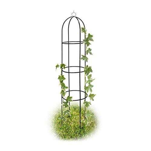 Relaxdays Rankobelisk beschichtetes Metall 190 cm, witterungsbeständige Garten Rankhilfe für Rosen und...