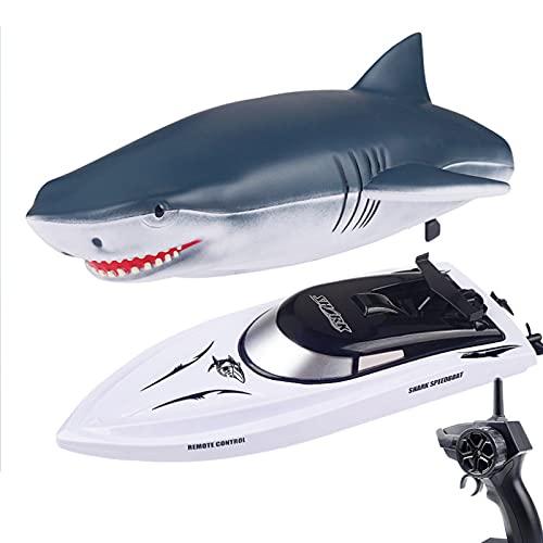 RC Boot Haifisch Spielzeug für Kinder, 2.4G ferngesteuertes elektrisches Rennboot für Pools mit...