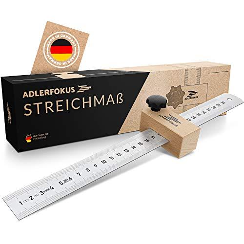 Adlerfokus Streichmaß [EG-1] - Anreisswerkzeug Made in Germany - Anschlaglineal - Anreisswerkzeug mit extra...