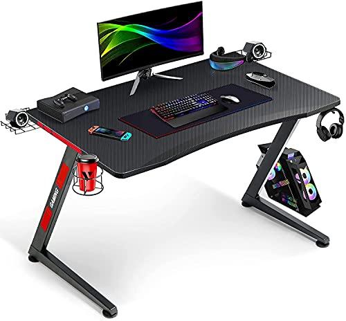 GTPLAYER Gaming Tisch Gaming Schreibtisch Gamer Tisch Ergonomischer PC Tisch mit Getränk- Kopfhörer-, und...
