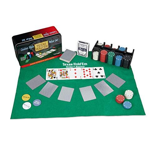 Relaxdays Pokerset, 200 Chips, Spielmatte, 2 Kartendecks, Dealerbutton, Blindbuttons, Casino-Feeling, Profi...