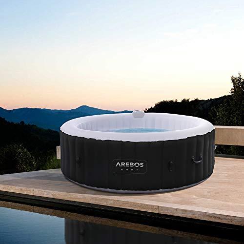 Arebos Whirlpool | aufblasbar | In- & Outdoor | 6 Personen | 130 Massagedüsen | mit Heizung | 1.000 Liter |...