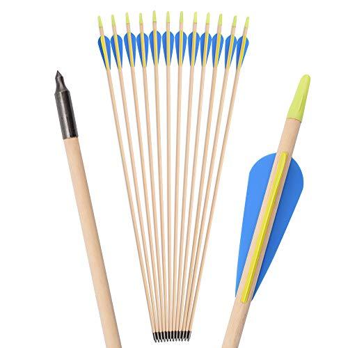 TY Archery 12 Stück Holzpfeile 32 Zoll Pfeile Holzpfeil Recurve Bogen Sportbogen Bogenschießen