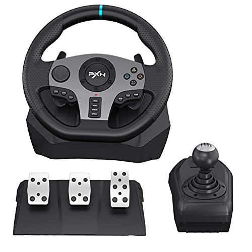 PXN V9 Gaming Rennlenkrad mit 3-Pedalset, Schalthebel, und Schaltpaddles, Universal USB Autorennspie Spiel...