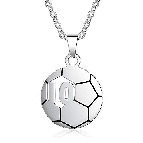 Jewelora personalisierte Kinder Name Halskette Fußball Nummer 10 oder 23 Anhänger maßgeschneiderte Schmuck...