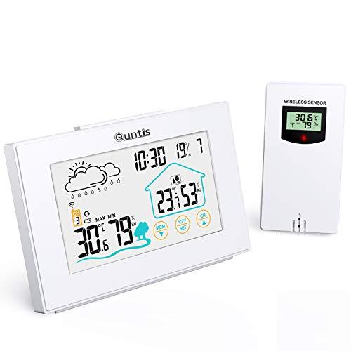 Quntis Wetterstation Funk mit Außensensor, Thermometer Hygrometer Digital Innen und Auße Multifunktionale...