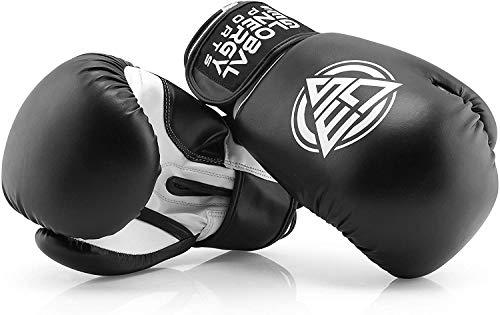 Global Energy Sports Boxhandschuhe Kunstleder ALLE Größen (Unzen oz) schwarz + gratis Sportbeutel für das...