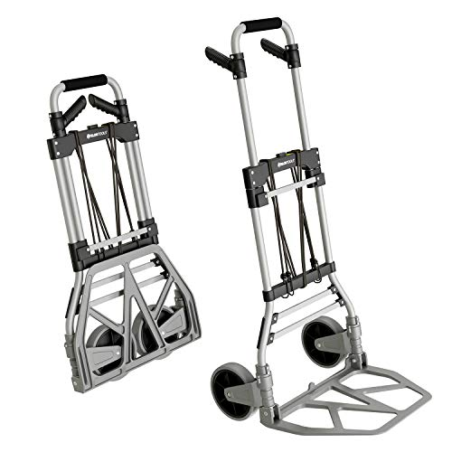 ATHLON TOOLS Aluminium Schwerlast-Sackkarre klappbar | Große leichtgängige Räder mit Soft-Laufflächen...