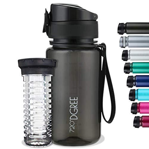 """720°DGREE Trinkflasche """"uberBottle"""" crystalClear +Früchtebehälter - 650ml - BPA-Frei - Auslaufsichere..."""
