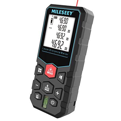MiLESEEY Laser Entfernungsmesser mit Pythagoras-Modus, Entfernung, Fläche und Volumen Messen, Lasermessgerät...