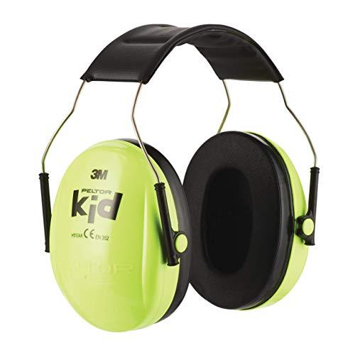 3M Peltor Kid Kapselgehörschützer neongrün - Kinder Gehörschutz mit verstellbarem Kopfbügel für Lärm...