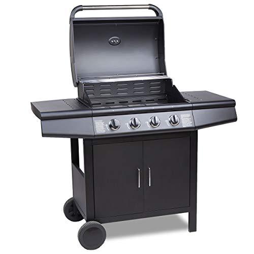 TAINO® Pro Gasgrill BBQ Grill-Wagen 4 Edelstahl-Brenner TÜV Gasbrenner Farbe Schwarz (Gasgrill 4+0 Set)