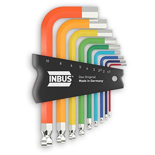 INBUS® 79870 Inbusschlüssel Set 9tlg, 1.5–10mm, mit ColorGrip bunt & Kugelkopf — Made in Germany