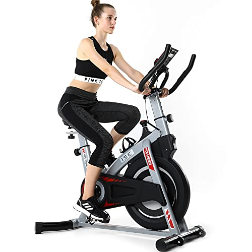 ISE Profi Indoor Cycle Ergometer Heimtrainer mit Pulsmesser,Armauflage,gepolsterte,10 kg Schwungrad...
