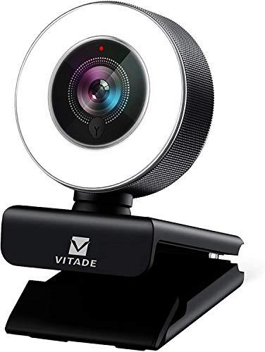 Webcam 1080P Full HD mit Mikrofon und Ringlicht, Vitade 960A Pro Computer PC USB Kamera Facecam für Streaming...