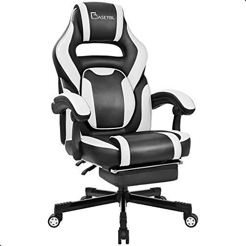 BASETBL Gaming Stuhl mit Fußstütze, 3D verstellbare Taille, komfortable breite Sitzfläche aus PU-Leder,...