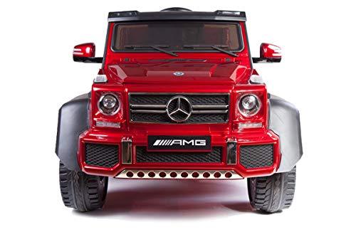 RIRICAR Elektrisches Auto für Kinder, 6x6 Mercedes-Benz G63 6X6, Rot Lackiert, mit 2,4-GHz Fernbedienung, 36...