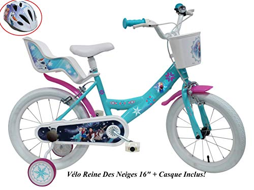 Disney Fahrrad 16 Zoll Mädchen Frozen 2 Bremsen Tür Hupe hinten + Helm Fahrrad Kinder Mehrfarbig 16 Zoll