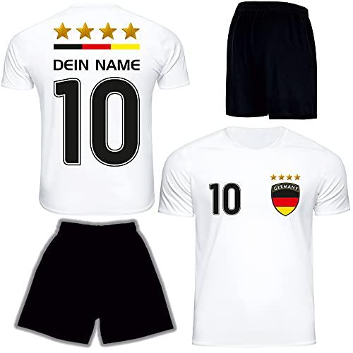 DE FANSHOP Deutschland Trikot 2021 mit Hose GRATIS Wunschname + Nummer im EM WM Weiß Typ #DE1ths - Geschenke...