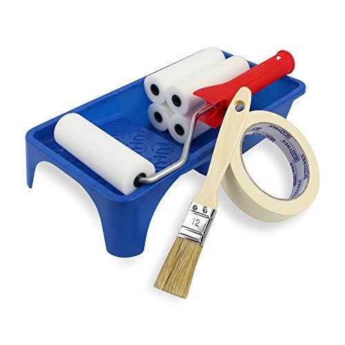 Kleine Farbrolle + 5 Ersatz-Schaumstoff-Ersatzteile 11 cm + Farbwanne + Pinsel + Abdeckband
