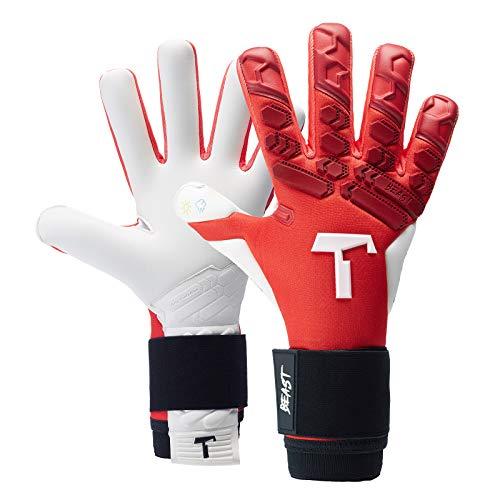 T1TAN Red Beast 2.0 Torwarthandschuhe für Erwachsene, Fußballhandschuhe Herren Innennaht und 4mm Profi Grip...