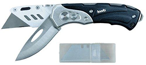 kwb Schweres Universal-Messer inkl. Cutter-Messer, klappbar, zwei extra scharfe 60 x 19 mm Klingen aus Metall,...