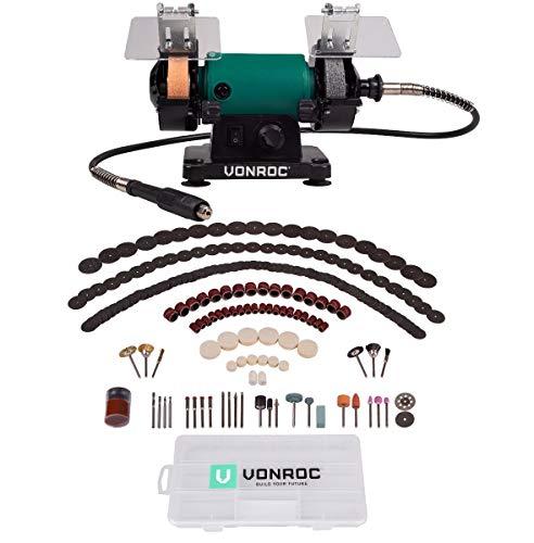 VONROC Doppelschleifer/Doppelschleifmaschine/Multifunktionswerkzeug 150W - 75mm mit flexibler Welle - Inkl....