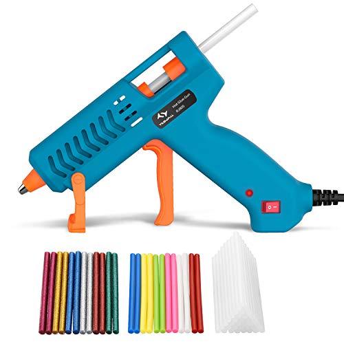 Heißklebepistole 60W Tilswall, Klebepistole mit 60 Stück Heißklebestifte sticks Glitzer/Bunt/Transparent,...