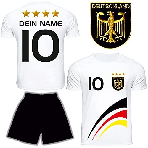 DE FANSHOP Deutschland Trikot mit Hose & GRATIS Wunschname + Nummer #D8 2021/2022 EM/WM Weiss - Geschenk für...