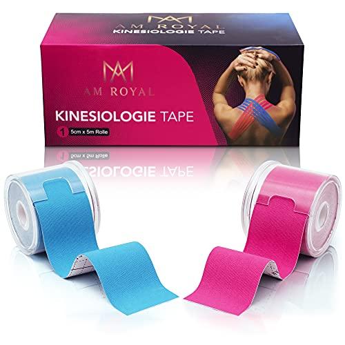 AM Royal® Kinesiotapes Pink + Blau – [2er Set] Tape - Sporttape inkl. 2 Aufbewahrungsboxen + Anleitung -...