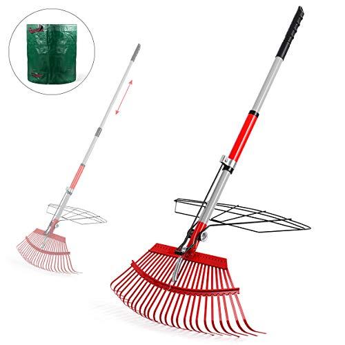 Gartenrechen, Laubrechen Mit Gartenabfallbeutel, Verstellbarer Rechen Und Grabber-Set Für Gärtner, Werkzeuge...