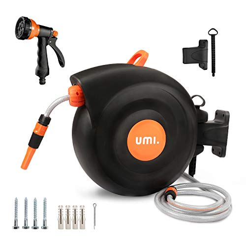 Umi. by Amazon- Schlauchtrommel,25+2m Schlauchaufroller,Roll-up Automatic,180°Schwenkbar,Kurze...