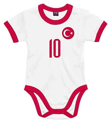 nationshirt Baby Body Türkei Trikot Look - Forma Bebek Bodysuit Ringer T-Shirt - No.10 Milli Takim Türkiye...