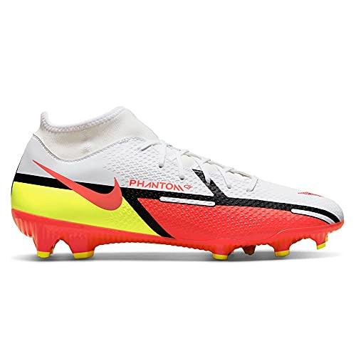 Nike Unisex Phantom GT2 Academy Dynamic Fit FG/MG Soccer Shoe, White/Bright Crimson-Volt, 45.5 EU