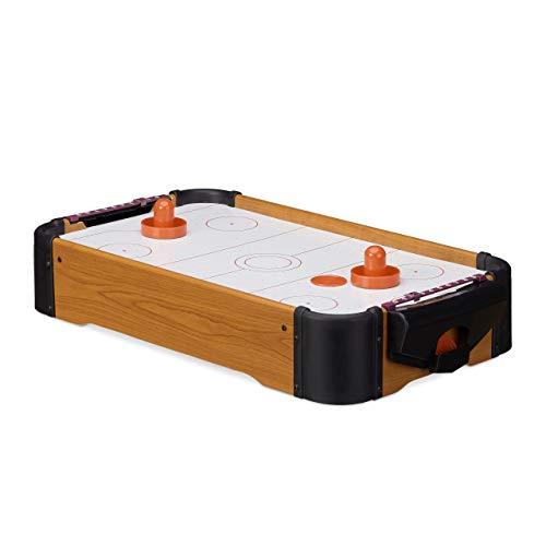 Relaxdays Airhockey Tischspiel, Tischairhockey mit Gebläse, Holz-Optik, inklusive Zubehör, B x T: 56 x 31...