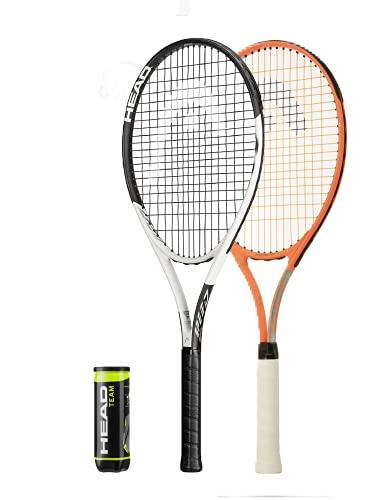 HEAD Ti Titan-Tennisschläger, Doppel-Set mit Schutzhüllen und 3 Tennisbällen