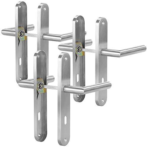 AGT Türgriffe: 3er-Set Moderne Edelstahl-Türbeschläge, 6 Türklinken & 6 Langschilder (Drückergarnitur)