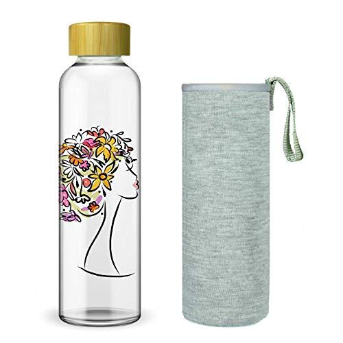 Wenburg Trinkflasche/Glasflasche mit Print und Bambus Deckel 550/750/1000 ml, Neopren Hülle....