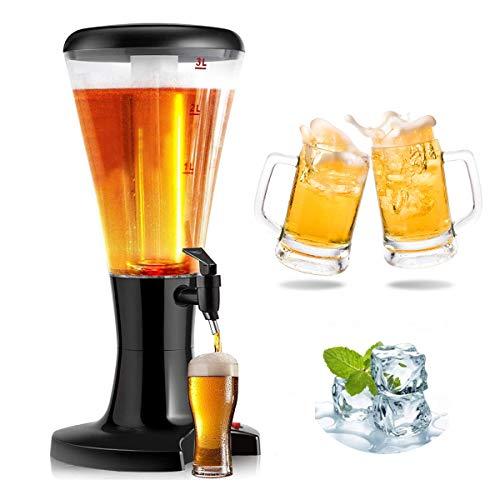 RELAX4LIFE Biersäule 3L, Bier Zapfsäule aus Kunstoff, Getränkespender mit Eiskühlung, Biertower mit...