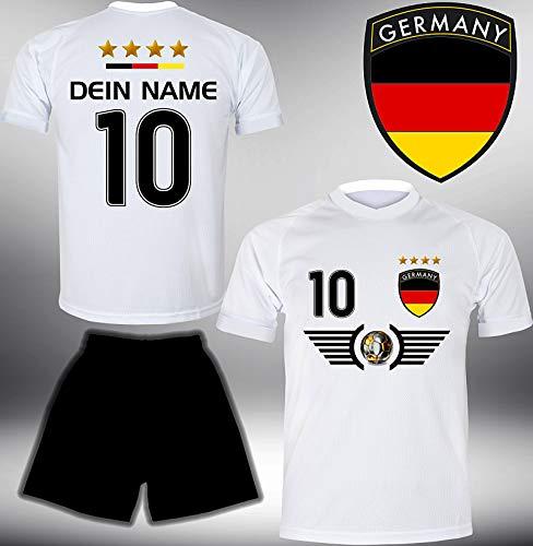 Deutschland Trikot Set 2018 mit Hose GRATIS Wunschname + Nummer im EM WM Weiss Typ #DE5th - Geschenke für...