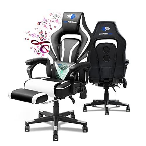 SOUTHERN WOLF Gaming Stuhl, Ergonomisch Videospielstuhl mit Bluetooth Lautsprecher, PU-Leder Einstellbar...