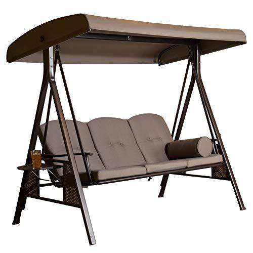 SORARA Luxus 3-sitzer Hollywoodschaukel | Braun | extra stabile Ausführung | Gartenschaukel Gartenliege...