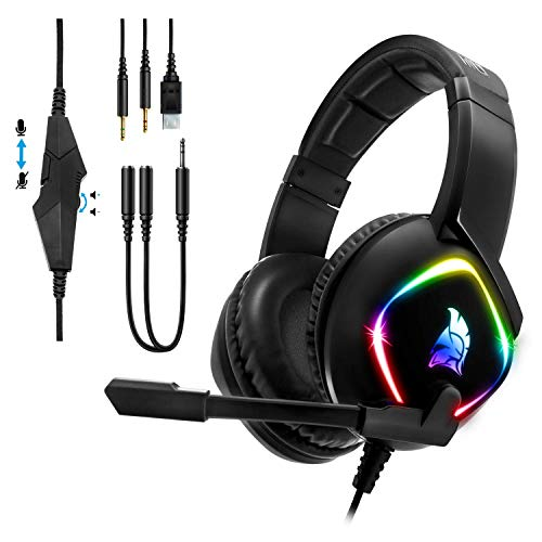 EMPIRE GAMING - Gaming Headset Dark Rainbow G-HD10 -Kompatibel PS4/PS5/Xbox Series/0Smartphones/Tablets/PC/MAC...