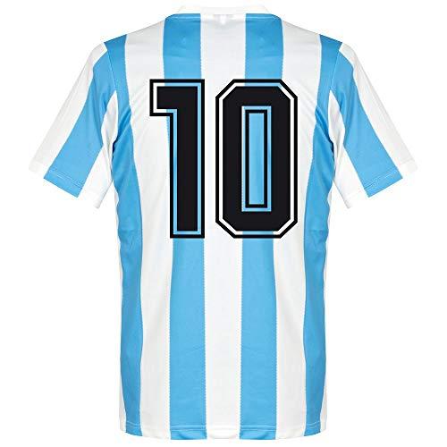 1986 Argentinien Home Retro Trikot + No 10 - L