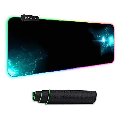 REAWUL RGB Gaming Mauspad Groß - 7 LED Farben 14 Beleuchtungs-Modi Gaming Mouse Mat, Rutschfester Gummibasis...