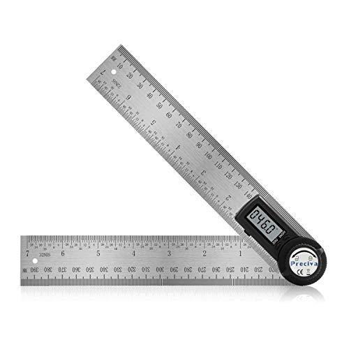 Winkelmesser, Preciva Digital Winkelschmiege mit Feststellfunktion, Messbereich: 000.0°~999.9°, Lineal aus...